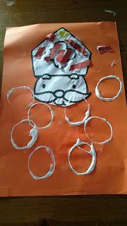 Sinterklaas knutselen. Baard van Sinterklaas stempelen met wc rol.