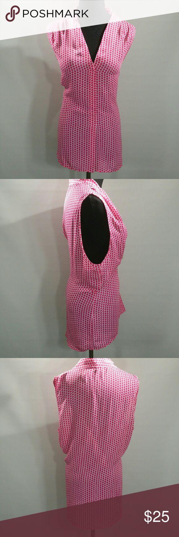 """LAUNDRY BY SHELLI SEGAL PINK & WHITE BLOUSE Sz XL Length 30""""  Length 27""""  Armpit to Armpit 22""""  100% Polyester  Machine Wash Laundry by Shelli Segal Tops Blouses"""