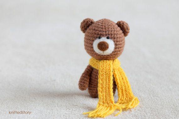 Crochet amigurumi teddy bears in the scarves - small teddy bear, personalized bear gift, birthday bear, Valentine teddy bear MADE TO ORDER