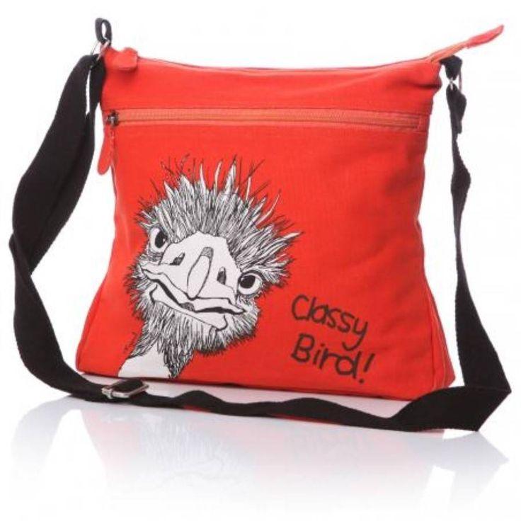 red classy bird messenger bag by coast and country interiors   notonthehighstreet.com