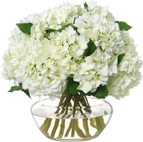 Diane James Large White Hydrangea Bouquet in Glass BowlDiane James Large White Hydrangea Bouquet in Glass Bowl