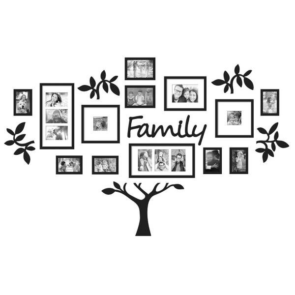 "Wallverbs Family Tree Personalized Picture Frame Set: WallVerbs™ 19-Piece ""Family"" Tree Set In Black"