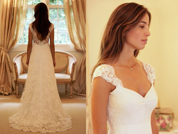 pretty neckline and lace with cap sleeves