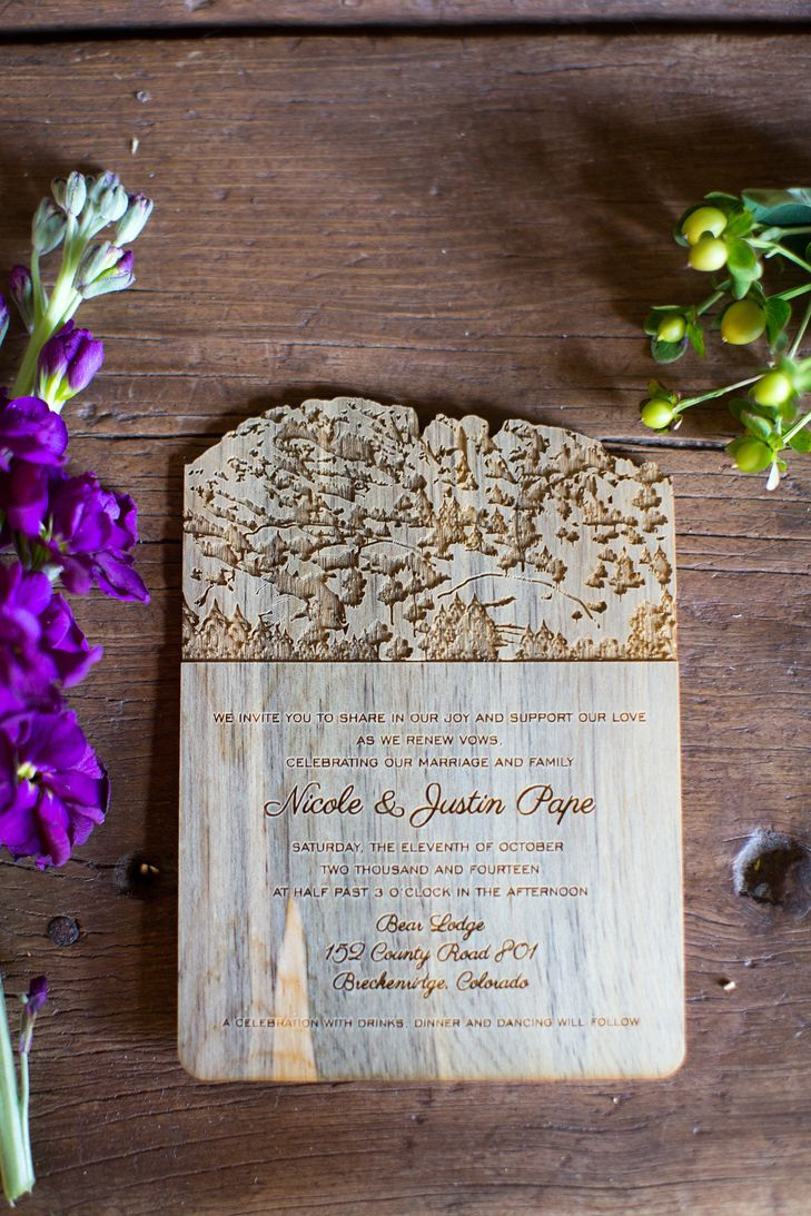 wedding renewal invitation ideas%0A Custom Rustic Wood Engraved Wedding Invitations   Photo  Jackie Cooper  Photo   Stationery  Unique