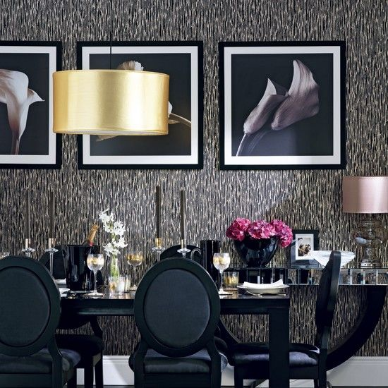 Glamorous black and gold dining room | traditional decorating ideas | Ideal Home | Housetohome.co.uk