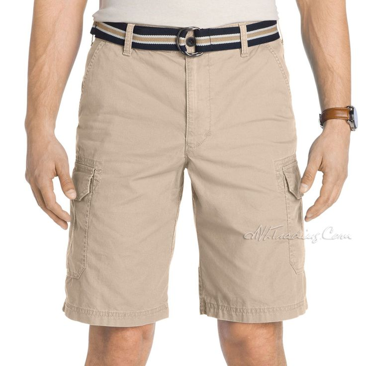 IZOD Men's Belted Flat Front 100% Cotton Classic Fit Stylist Cargo Short