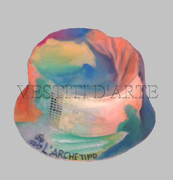 hand painted sun hat hand made gifts scala straw by Vestitidarte