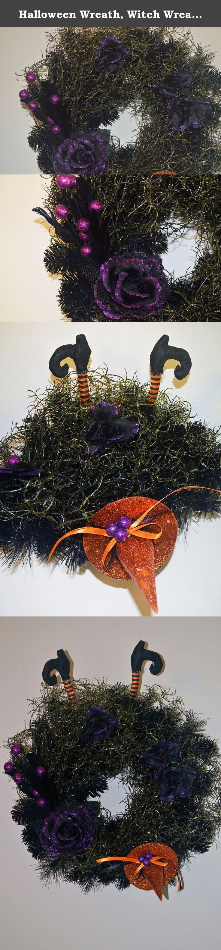 Halloween Wreath, Witch Wreath, Front Door Wreath, Witch Legs , Ready to Ship!. Witches on flying brooms are like milk and cookies. However, to fly a broom takes practice and patience. This witch has failed her broom flying test since she smashed into a spider's lair and could not untangle herself from the sticky webbing. The only things left are her legs, orange witch hat, decorative flowers and feathery corsage. The wreath base is black pine and the spider webbing is decorative green...