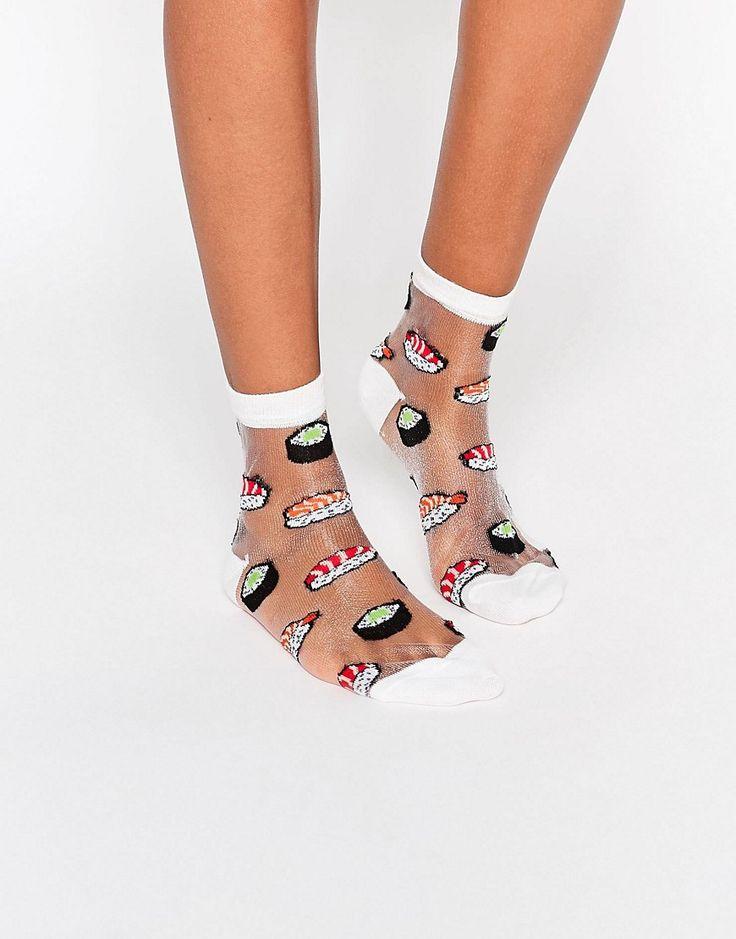 Image 1 - ASOS - Socquettes transparentes à motif sushi
