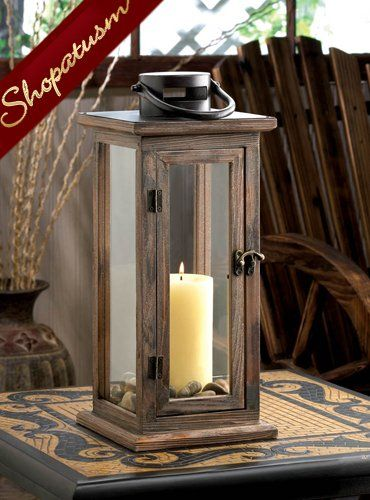 Hanging candle lanterns rustic lodge centerpieces