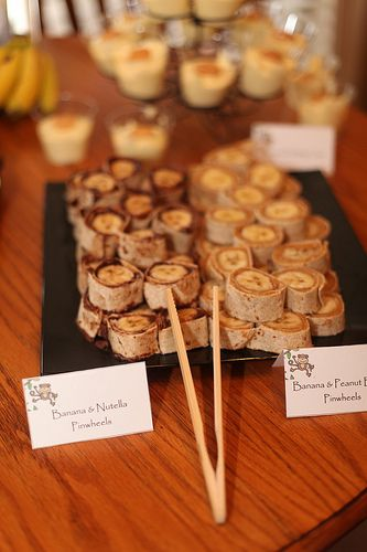 Monkey Birthday Party - Banana/Nutella and Banana/Peanut Butter Tortilla Bites  Photo by CaraBethStudio.com