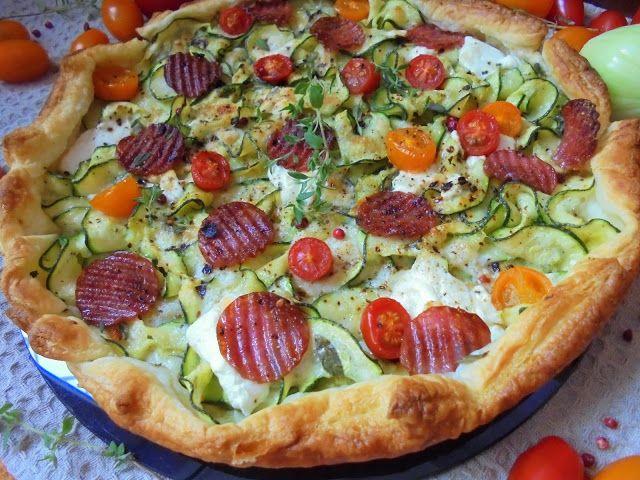 My Little Food Safari: Tarta z cukinią, salami, pomidorami i Pecorino Rom...