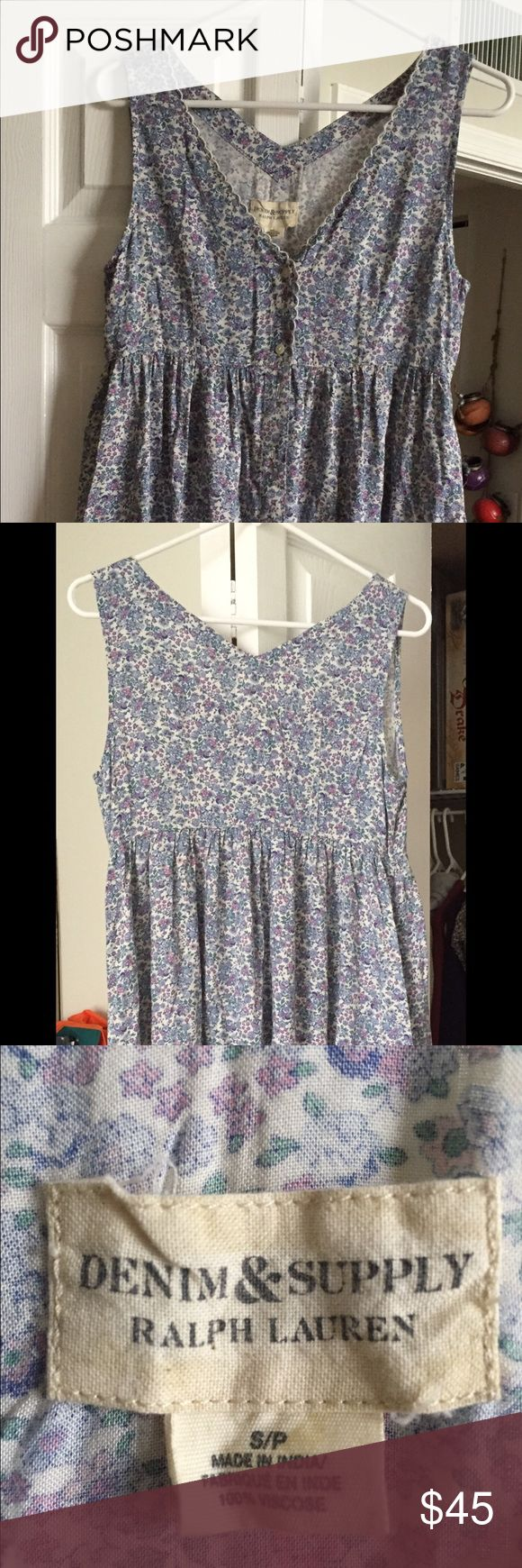 Dress by Denim & supply Ralph Lauren Size S, dress V neckline, buttoned placked, sleeveless, machine washable, never been worn.    Original price $92. Demin & Supply Ralph Lauren Dresses Midi