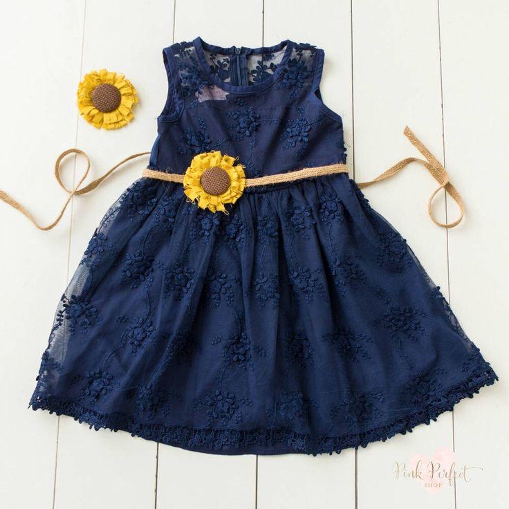 Flower girl dress, rustic flower girl dress,country flower girl ,burlap flower girl dress,Navy Blue lace flower girl dress, Sunflower Dress, by pinkperfectshop on Etsy https://www.etsy.com/listing/517753934/flower-girl-dress-rustic-flower-girl