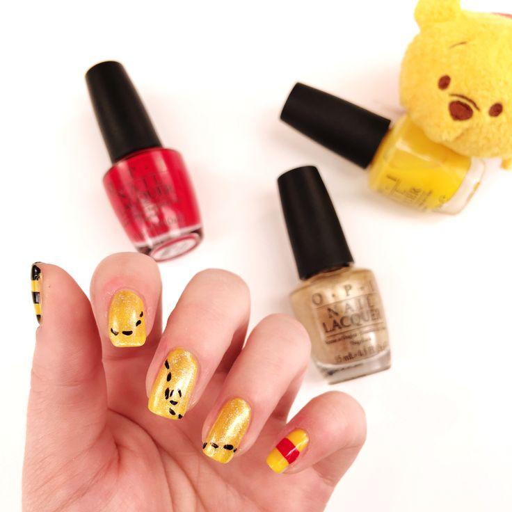 Sweet Winnie the Pooh nail art