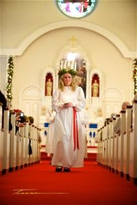 Lucia Festival in Lindsborg, KS.  Lucia is crowned in Bethany Church.
