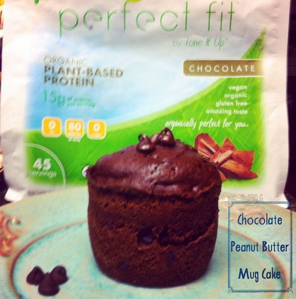 Chocolate Peanut Butter Mug Cake shared by lindsey_tonesitup! 1/4 cup almond milk, 1 tsp vanilla, 1 egg, 1.5 tbsp unsweetened cocoa, 1 tsp baking powder, 1 tbsp powdered stevia, 1-2 tbsp dark chocolate chips, 1 scoop chocolate Perfect Fit Protein, 1 tbsp all natural peanut butter. Mix all ingredients together in a microwaveable mug. Microwave for 1-2 minutes. Eat as is or topped with plain greek yogurt!