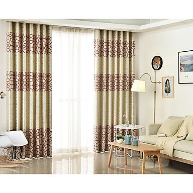Rod Pocket Grommet Top Tab Top Double Pleat Pencil Pleat Two Panels Curtain Mediterranean , Jacquard Geometic Bedroom Linen/Polyester