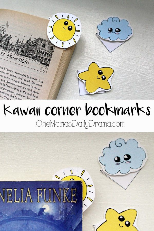 Kawaii Corner Bookmarks Printable Tutorial Fun For