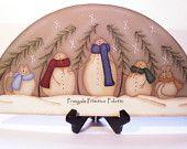 Snowman Wood Door Crown Shelf Sitter Winter Home Decor Plaque Handpainted Winter
