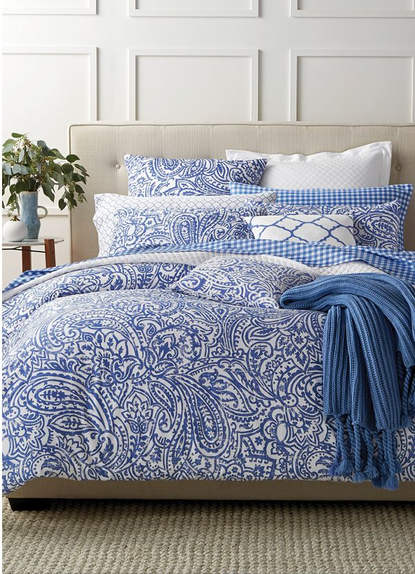 Create an inspiring look for your master suite with this calming blue comforter set from our Damask Designs Collection by Charter Club.