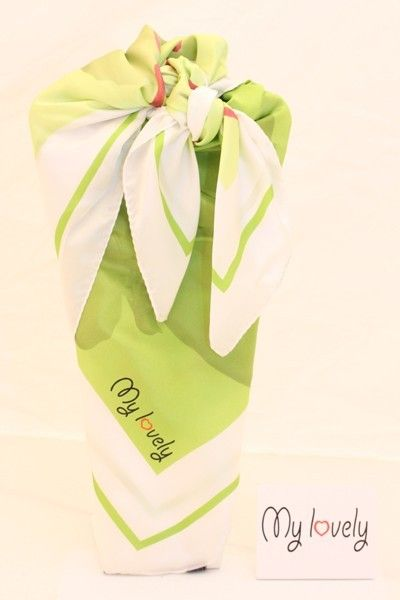 Foulard in seta My Lovely bianco e verde MD fashion