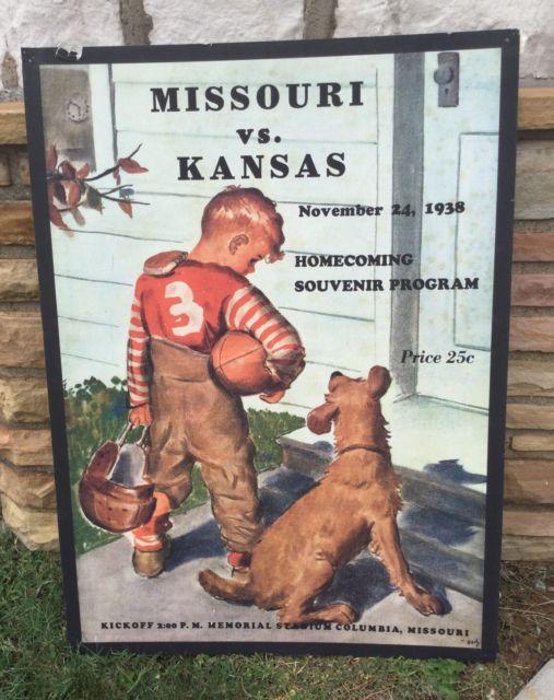 University of Missouri Mizzou Kansas Football Poster Program 1938 Homecoming | eBay