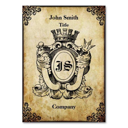 Grunge Heraldry Monogram Business Card