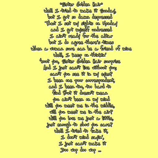 lyric interpretation sister golden hair america Sister golden hair songtext von america mit lyrics, deutscher übersetzung, musik-videos und liedtexten kostenlos auf songtextecom.