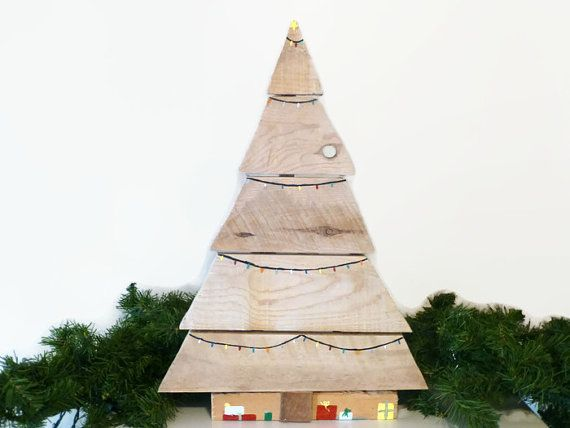 Reclaimed wood Christmas tree winter by CraftyFamilyOfFive on Etsy