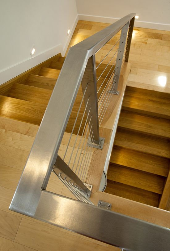 Contemporary Barn Conversion Stair Hardwood Stainless Steel Cable Railing Stairway Lighting Handrail Photo Credits: RVGP Photo Graphics