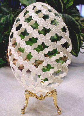 carved rhea eggshell