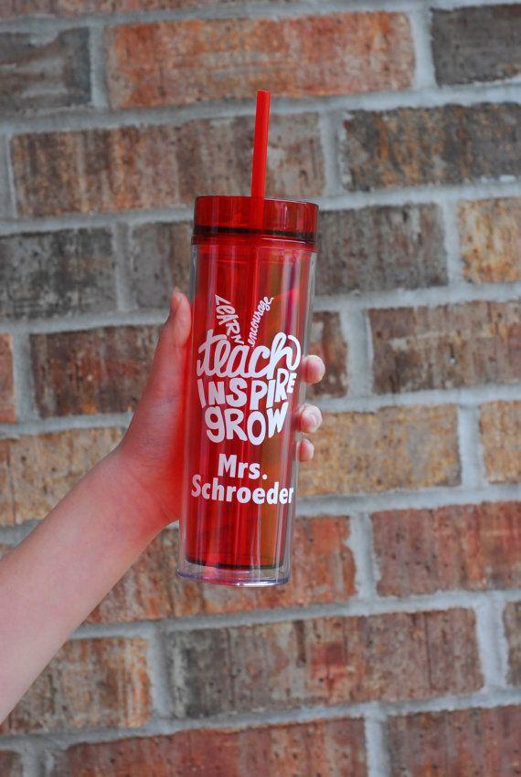 Personalized Teacher Water Bottle, Teacher Tumbler, End of year teacher gift, teach inspire grow, custom teacher gift