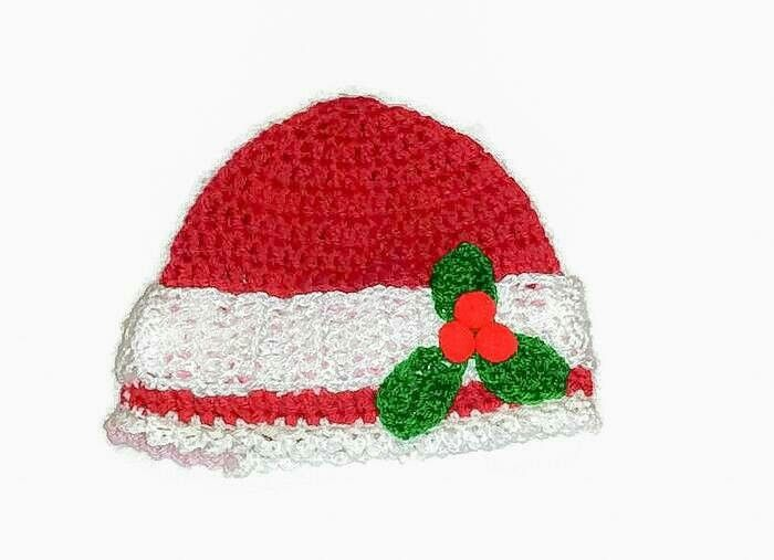 Excited to share the latest addition to my #etsy shop: Baby Girl Crochet Christmas Beanie Hat with Merry Holly Berries, Infant Picture, Newborn Xmas Present, Shower Prop Cap, Holiday Gifting http://etsy.me/2hJ3BlD