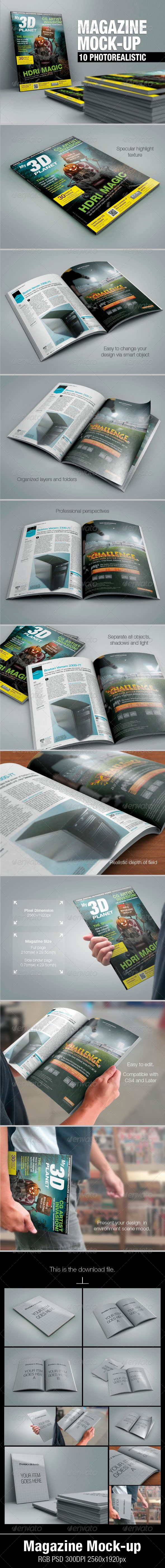 Magazine in environment mock up template
