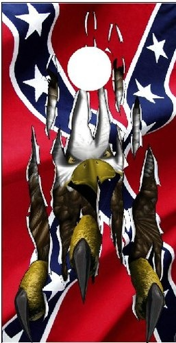 Rebel flag eagle claw ripping thru cornhole game decal wrap