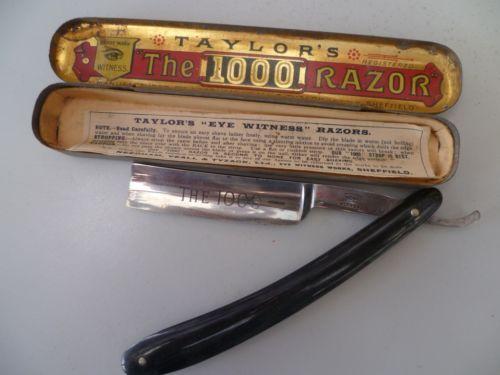 Vintage-Taylors-EYE-WITNESS-1000-cut-throat-English-razor-tin-case-papers
