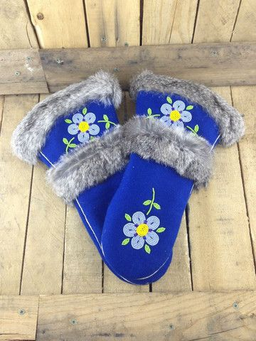 Beaded Blue Stroud Mittens with Rabbit Fur More