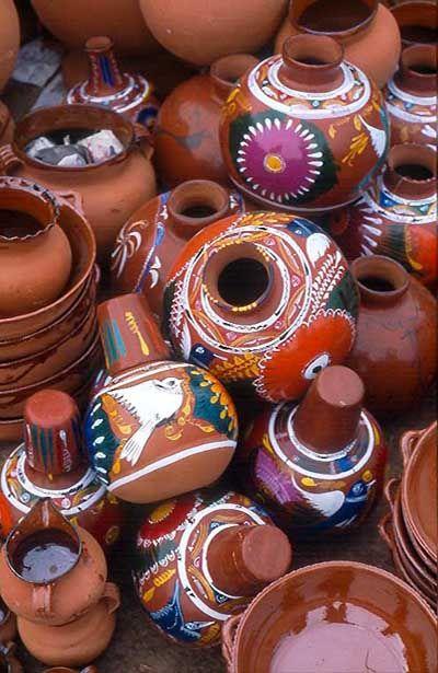 Mexico. Purepecha pottery. pile of ceramic pots at the market in Tarecuato Michoacan.