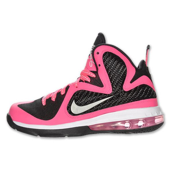 Nike LeBron 9 GS - Black/Pink-White - Available | SneakerFiles ❤ liked on Polyvore