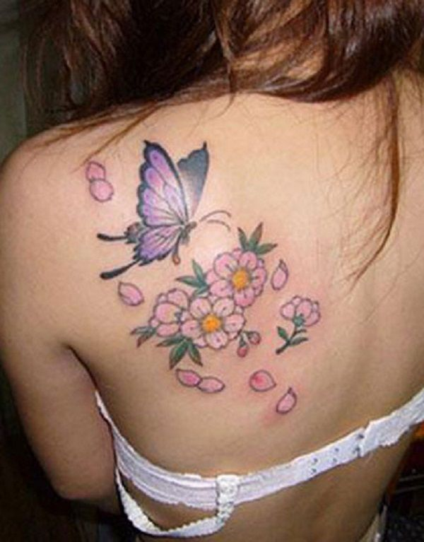 butterfly tattoo with flowers 41 - 50 Butterfly tattoos with flowers for women   <3