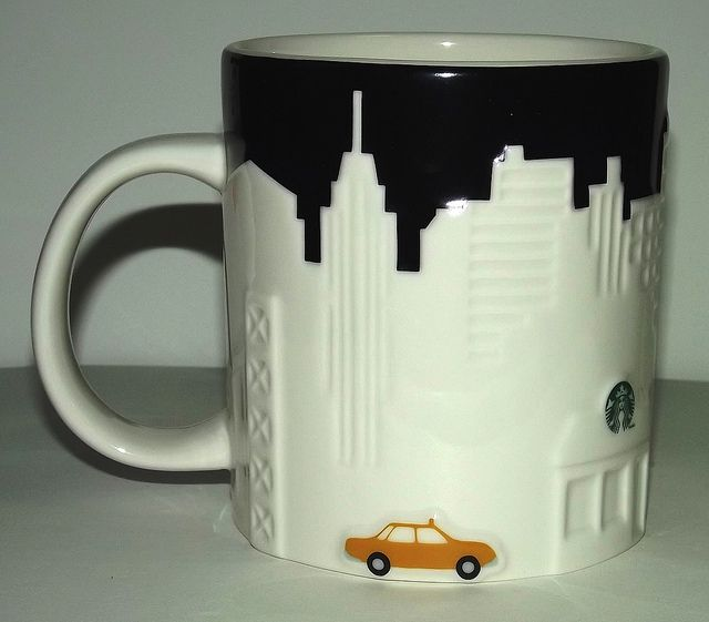 New York Coffee Mug with a yellow taxi and conveniently nearby Starbucks!