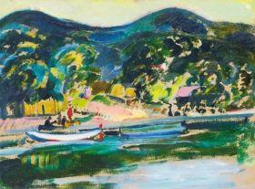 Márffy Ödön - Vízparton (Folyóparti táj), 1910 körül