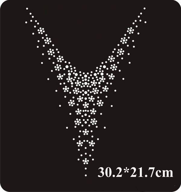 White neckline flower design hot fix rhinestone for embellishment,heat transfer rhinestone,sewing accessories(ss-5055-1)