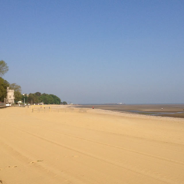 Ryde Beach. Looking west towards Appley Tower and Ryde in the background.