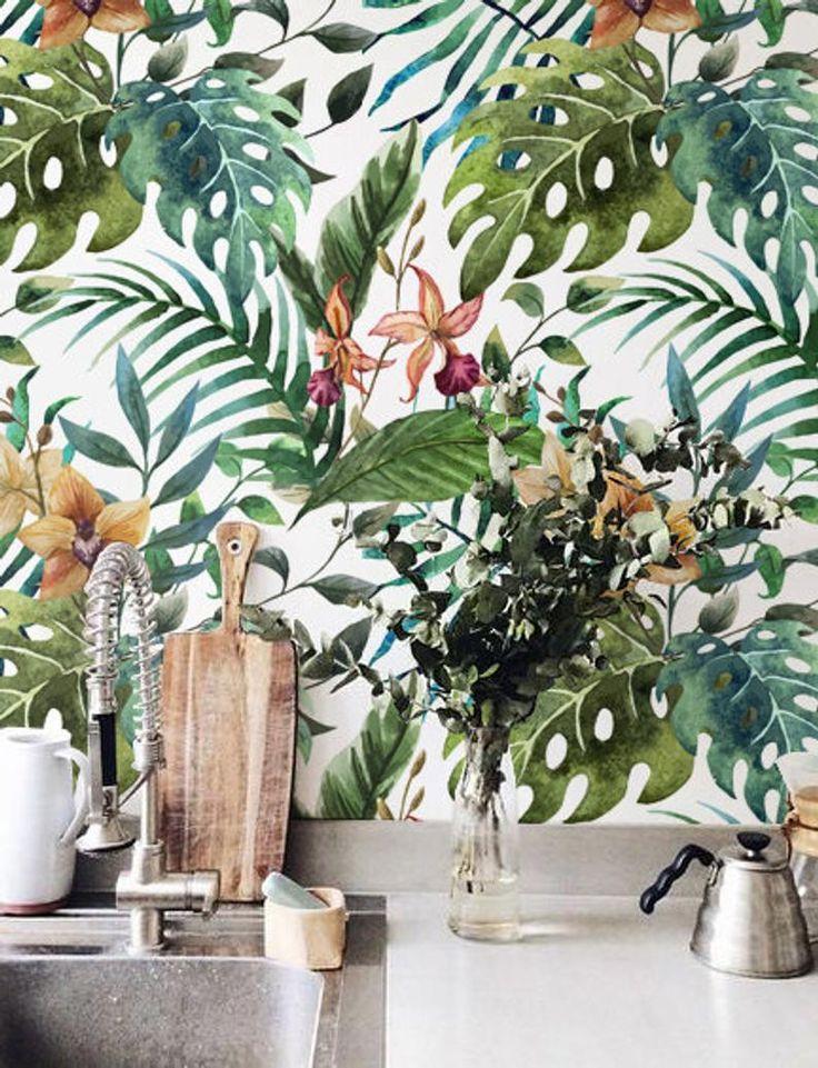 Floral Wall Décor, Jungle leaf Wallpaper, Removable