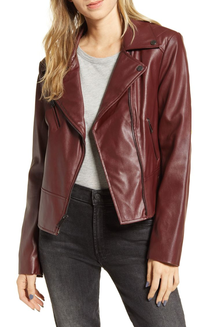 Women's French Connection Quilted Faux Leather Moto Jacket