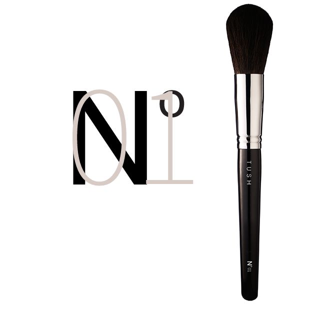Nr 01 Round Powder Brush.  A full round brush with extremely soft natural bristles for easy and even application. Available at www.tushbrushes.com