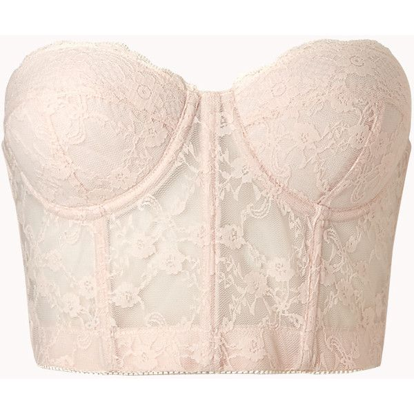 Cropped Strapless Lace Corset featuring polyvore, fashion, clothing, tops, shirts, crop tops, bustier, bustier crop top, pink corset top, bustier tops, forever 21 and crop top