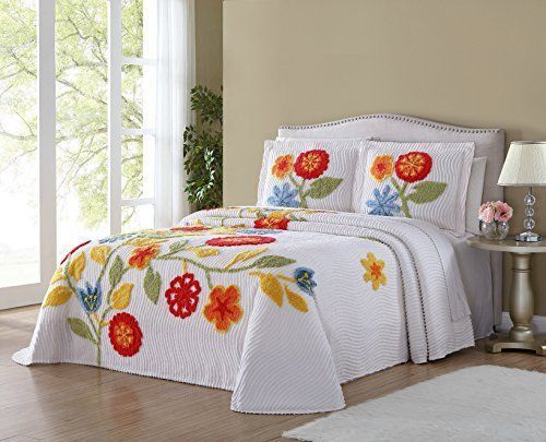Ellison Flower Garden Chenille King White Bedspread Home